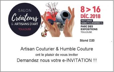 HUMBLE COUTURE AU SALON DES CREATEURS DE TOULOUSE DU 8 AU 16 DECEMBRE 2018 A TOULOUSE